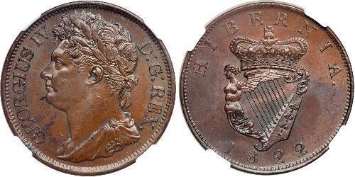 1 Penny Ireland (1922 - ) / United Kingdom of Great Britain and Ireland (1801-1922)  George IV (1762-1830)