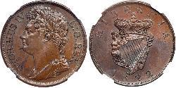 1 Penny Vereinigtes Königreich von Großbritannien und Irland (1801-1922) / Irland (1922 - )  Georg IV (1762-1830)