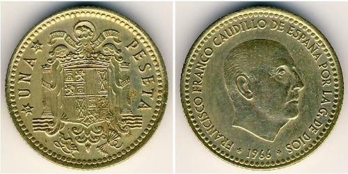 1 Peseta Francoist Spain (1936 - 1975) Alluminio/Bronzo Francisco Franco(1892 – 1975)