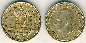 1 Peseta Francoist Spain (1936 - 1975) Bronze/Aluminium Juan Carlos I of Spain (1938 - )