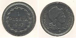 1 Peseta Zweite Spanische Republik (1931 - 1939) Kupfer/Nickel