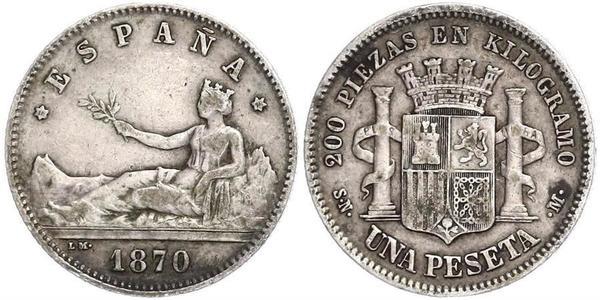 1 Peseta Primera República Española (1873 - 1874) Plata