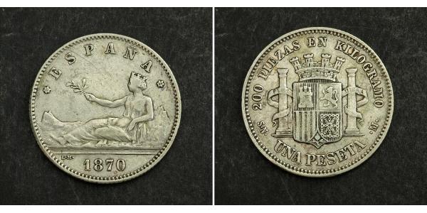 1 Peseta Erste Spanische Republik (1873 - 1874) Silber