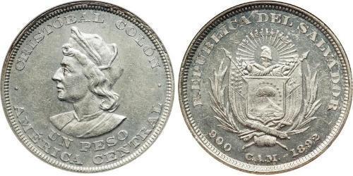1 Peso El Salvador 銀 克里斯托弗·哥伦布