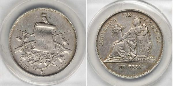 1 Peso Guatemala (1838 - ) Argent