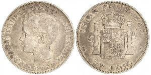 1 Peso Philippines Argent Alfonso XIII of Spain (1886 - 1941)