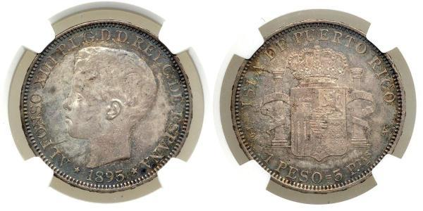 1 Peso Porto Rico Argent Alfonso XIII of Spain (1886 - 1941)