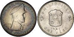 1 Peso Filippine Argento Douglas MacArthur (1880 - 1964)