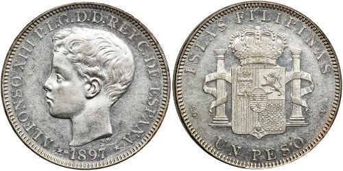 1 Peso Filippine Argento Alfonso XIII of Spain (1886 - 1941)