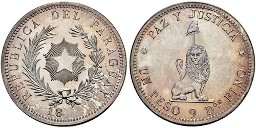1 Peso Paraguay (1811 - ) Argento
