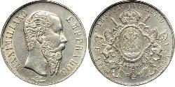 1 Peso Secondo Impero Messicano (1864 - 1867) Argento Maximilian I of Mexico (1832 - 1867)