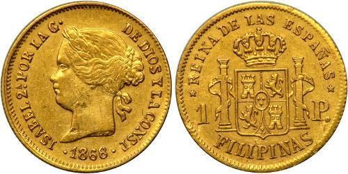 1 Peso Philippinen Gold Isabella II of Spain (1830- 1904)