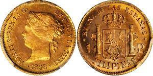 1 Peso Philippines Gold Isabella II of Spain (1830- 1904)