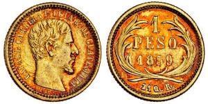1 Peso República de Guatemala (1838 - ) Gold José Rafael Carrera Turcios