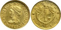 1 Peso Republic of Colombia (1819 - 1831) Gold