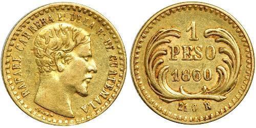 1 Peso Guatemala (1838 - ) Or Rafael Carrera