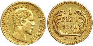 1 Peso Guatemala (1838 - ) Oro Rafael Carrera
