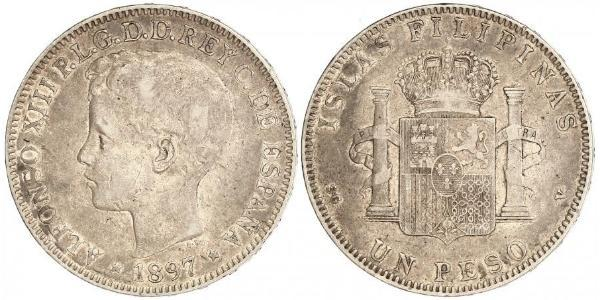 1 Peso Filipinas Plata Alfonso XIII of Spain (1886 - 1941)