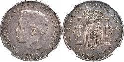 1 Peso Puerto Rico Plata Alfonso XIII of Spain (1886 - 1941)