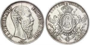 1 Peso Segundo Imperio Mexicano (1864 - 1867) Plata Maximilian I of Mexico (1832 - 1867)