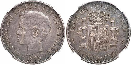 1 Peso Puerto Rico Silber Alfonso XIII of Spain (1886 - 1941)