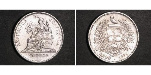 1 Peso República de Guatemala (1838 - ) Silber