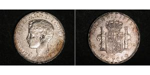 1 Peso Philippines Silver Alfonso XIII of Spain (1886 - 1941)