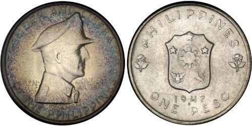 1 Peso Philippines Silver Douglas MacArthur (1880 - 1964)
