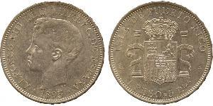 1 Peso Puerto Rico Silver Alfonso XIII of Spain (1886 - 1941)