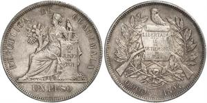 1 Peso Republic of Guatemala (1838 - ) Silver