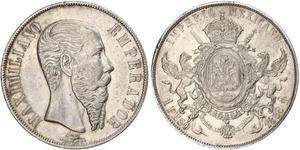 1 Peso Second Mexican Empire (1864 - 1867) Silver Maximilian I of Mexico (1832 - 1867)