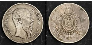 1 Peso Second Mexican Empire (1864 - 1867) Silver Maximilian I of Mexico (1832 - 1867)