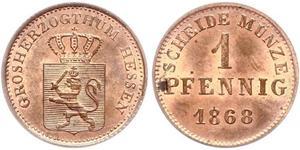 1 Pfennig 黑森-达姆施塔特 (1806 - 1918) 銅 路德维希三世 (黑森大公)