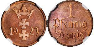 1 Pfennig Gdansk (1920-1939) Bronce