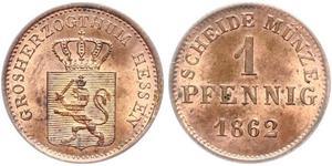 1 Pfennig Hesse-Darmstadt (1806 - 1918) Cobre Luis III de Hesse-Darmstadt