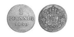 1 Pfennig Kingdom of Bavaria (1806 - 1918) Copper Maximilian II of Bavaria (1811 - 1864)