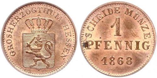 1 Pfennig Großherzogtum Hessen (1806 - 1918) Kupfer Ludwig III. (Hessen-Darmstadt)