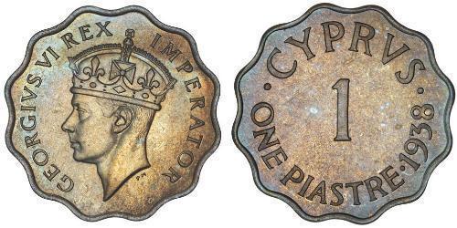 1 Piastre British Cyprus (1878 - 1960) Bronzo Giorgio VI (1895-1952)