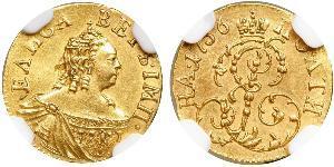 1 Poltina 俄罗斯帝国 (1721 - 1917) 金 Jelisaweta I Petrowna (1709-1762)