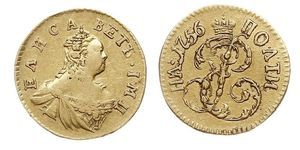 1 Poltina Russian Empire (1720-1917) Gold Jelisaweta I Petrowna (1709-1762)