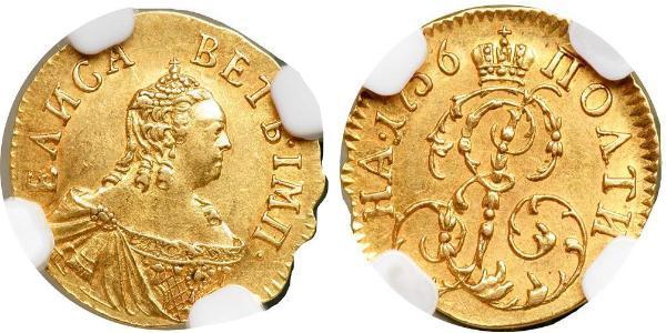 1 Poltina Russian Empire (1720-1917) Gold Jelisaweta I Petrowna (1709-1762)