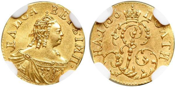 1 Poltina Russisches Reich (1720-1917) Gold Jelisaweta I Petrowna (1709-1762)