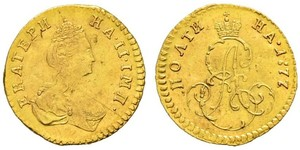1 Poltina / 1/2 Ruble Russian Empire (1720-1917) Gold Catherine II (1729-1796)