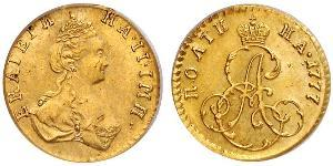 1 Poltina / 1/2 Ruble Russian Empire (1720-1917) Gold Catherine II (1729-1796)