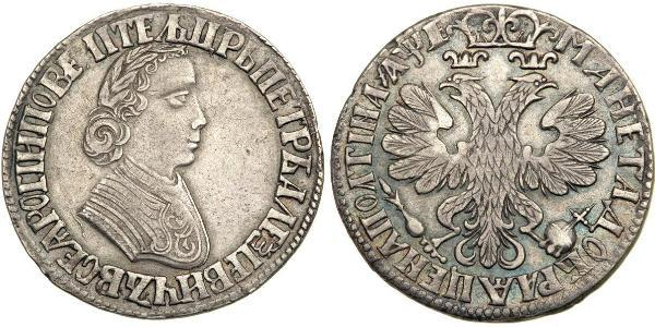 1 Poltina / 1/2 Ruble Russian Empire (1720-1917) Silver Peter the Great (1672-1725)