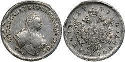 1 Polupoltinnik Russian Empire (1720-1917) Silver Jelisaweta I Petrowna (1709-1762)