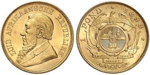 1 Pond South Africa Gold Paul Kruger (1825 - 1904)