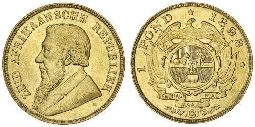 1 Pond South Africa Gold Paul Kruger (1825 - 1904)