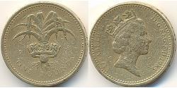 1 Pound Regno Unito (1922-) Ottone/Nichel Elisabetta II (1926-)