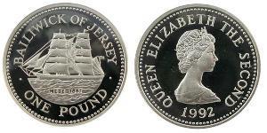 1 Pound Jersey Plata Isabel II (1926-)